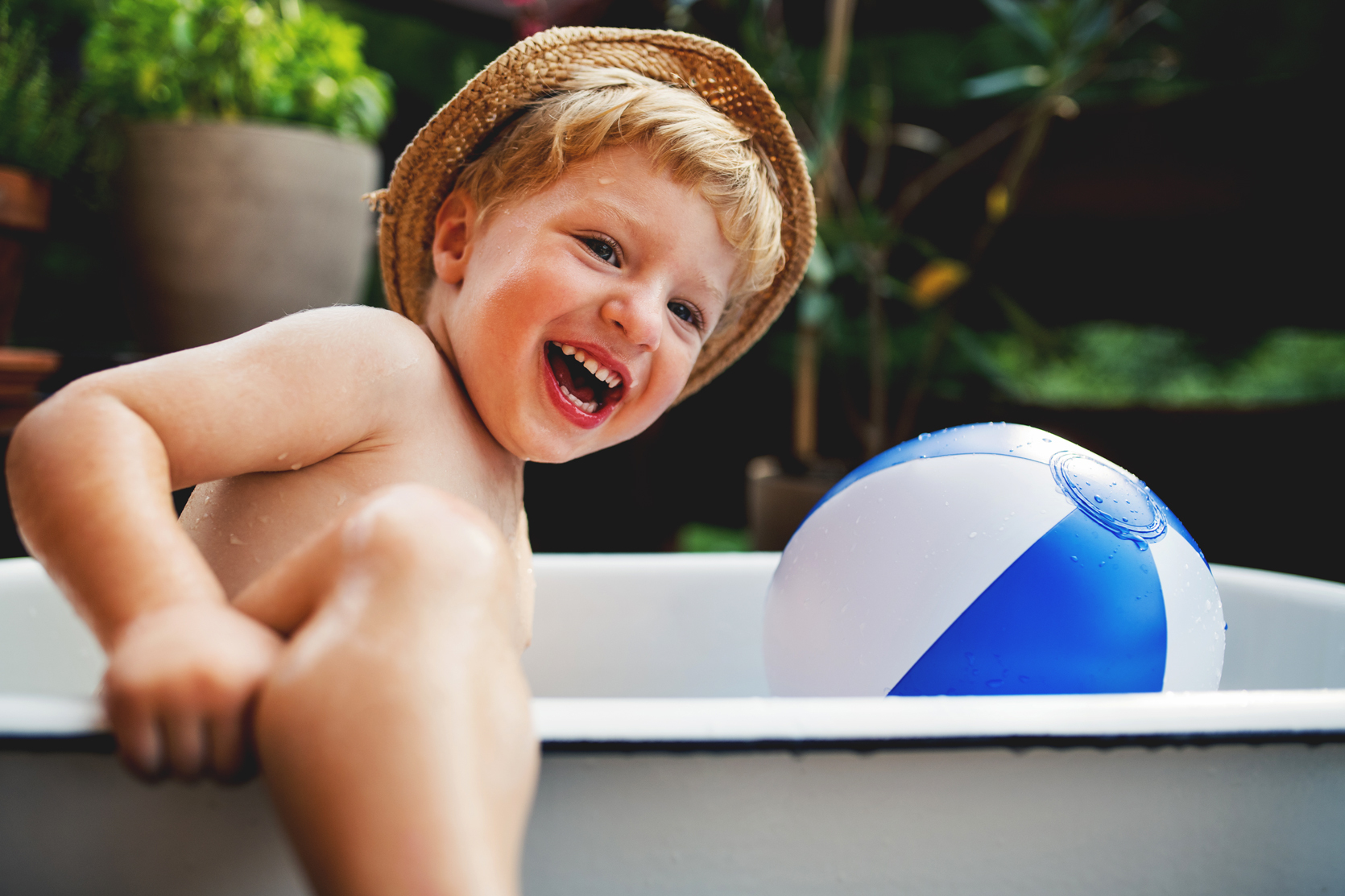Little Boy Playing In Pool